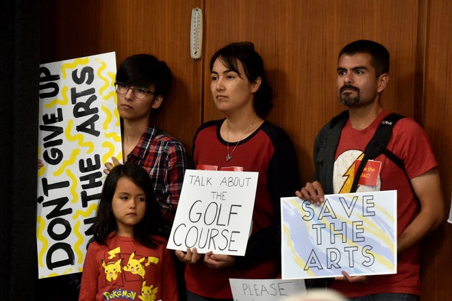 Berenice Becerra, from left, Lyra Lira, Luz Lira and Refugio Lira attend the Oxnard City Council meeting on May 21 as members of the community voice opposition to budget cuts.