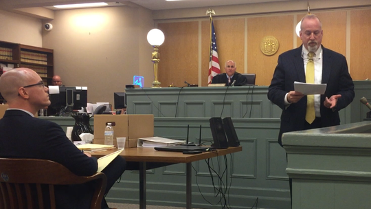 Defense attorney Joel Aronow addresses jurors on Tuesday as testimony starts in Cumberland County Superior Court in the trial of Larry J. Pulcine in a 2016 murder at a Vineland hotel. Seated is Assistant Prosecutor Charles J. Wettstein and on the bench, Judge Michael Silvanio.