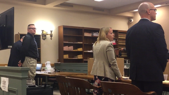 Tuesday was day one in the Cumberland County Superior Court trial of Larry J. Pulcine (second from left) in the 2016 murder of one of his co-workers as the victim slept in his room at the Wingate Hotel in Vineland. At right, Assistant Prosecutors Lindsey Seidel and Charles J. Wettstein.