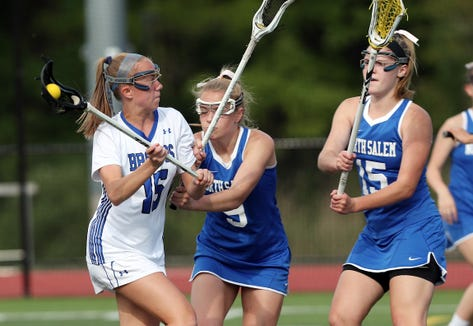 Bronxville's Fiona Jones prepares to shoot against North Salem May 22, 2019 at Fox Lane High School in the Section 1 girls lacrosse Class D final.