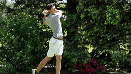 Alex Kyriaco of Suffern tees off on 10th hole during the final round of the Section 1 boys golf tournament at Fenway Golf Club May 22, 2019 in Scarsdale.