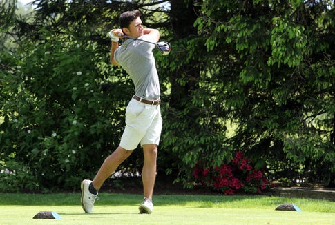 Alex Kyriacou of Suffern tees off on 10th hole during the final round of the Section 1 boys golf tournament at Fenway Golf Club May 22, 2019 in Scarsdale. Kyriacou tied for second in the NYSPHSAA state golf championships.