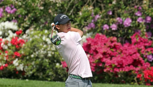 Nathan Han of Somers tees off on the 13th hole during the final round of the Section 1 boys golf tournament at Fenway Golf Club May 22, 2019 in Scarsdale.