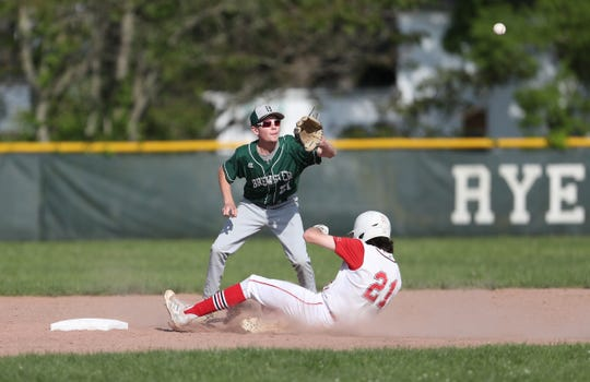 Rye's Declan Lavelle (21) steals second in their 12-2 win over Brewster in the Class A baseball quarterfinal at Disbrow Park in Rye on Wednesday, May 22, 2019.