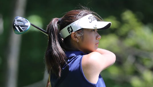 Scarsdale's Kaitlyn Lee tees off during the final round of the Section 1 girls championship at the Whippoorwill Club in Armonk May 22, 2019. She won the championship.