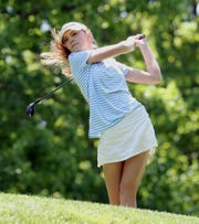 Ursuline's Alice Hodge tees off during the final round of the Section 1 girls championship at the Whippoorwill Club in Armonk May 22, 2019.