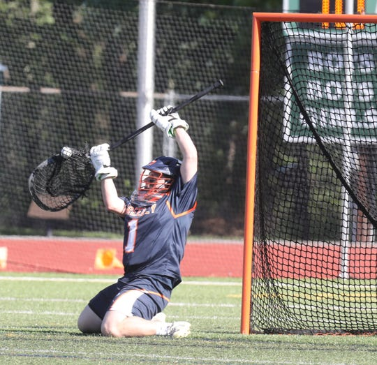 Greeley's goalie Matt Maitland (1) blocks a shot against Yorktown during boys lacrosse Section 1 Class B semifinal game at Yorktown High School May 21, 2019. Yorktown defeats Greeley 15-6.