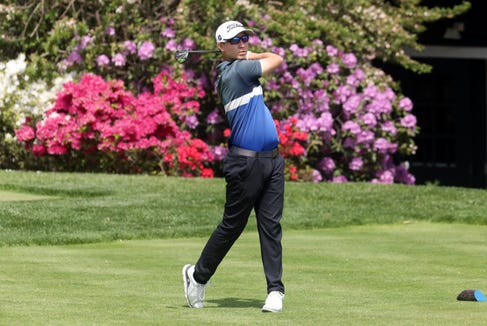 Judson Langille of Ossining tees off on the 13th hole during the final round of the Section 1 boys golf tournament at Fenway Golf Club May 22, 2019 in Scarsdale.