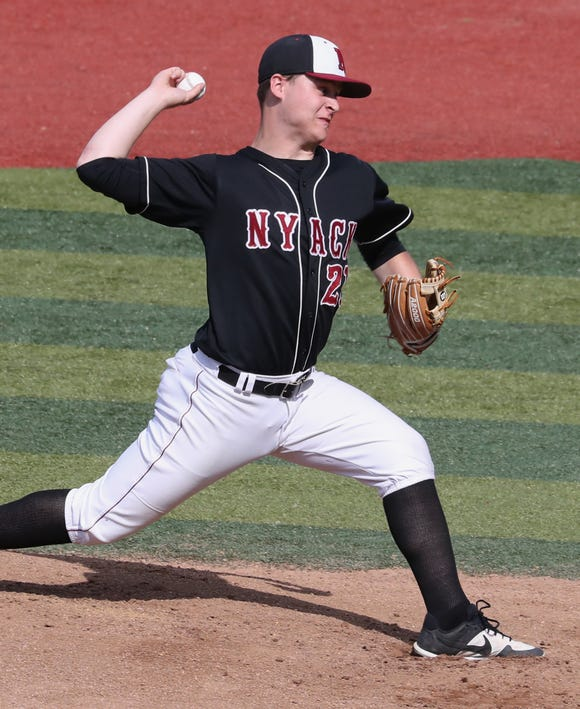 Nyack's Parker Stemkowski delivers a pitch during a game with Hendrick Hudson at Nyack May 22, 2019.