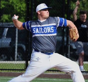 Hendrick Hudson's Nick Caruso delivers a pitch during a game at Nyack May 22, 2019.