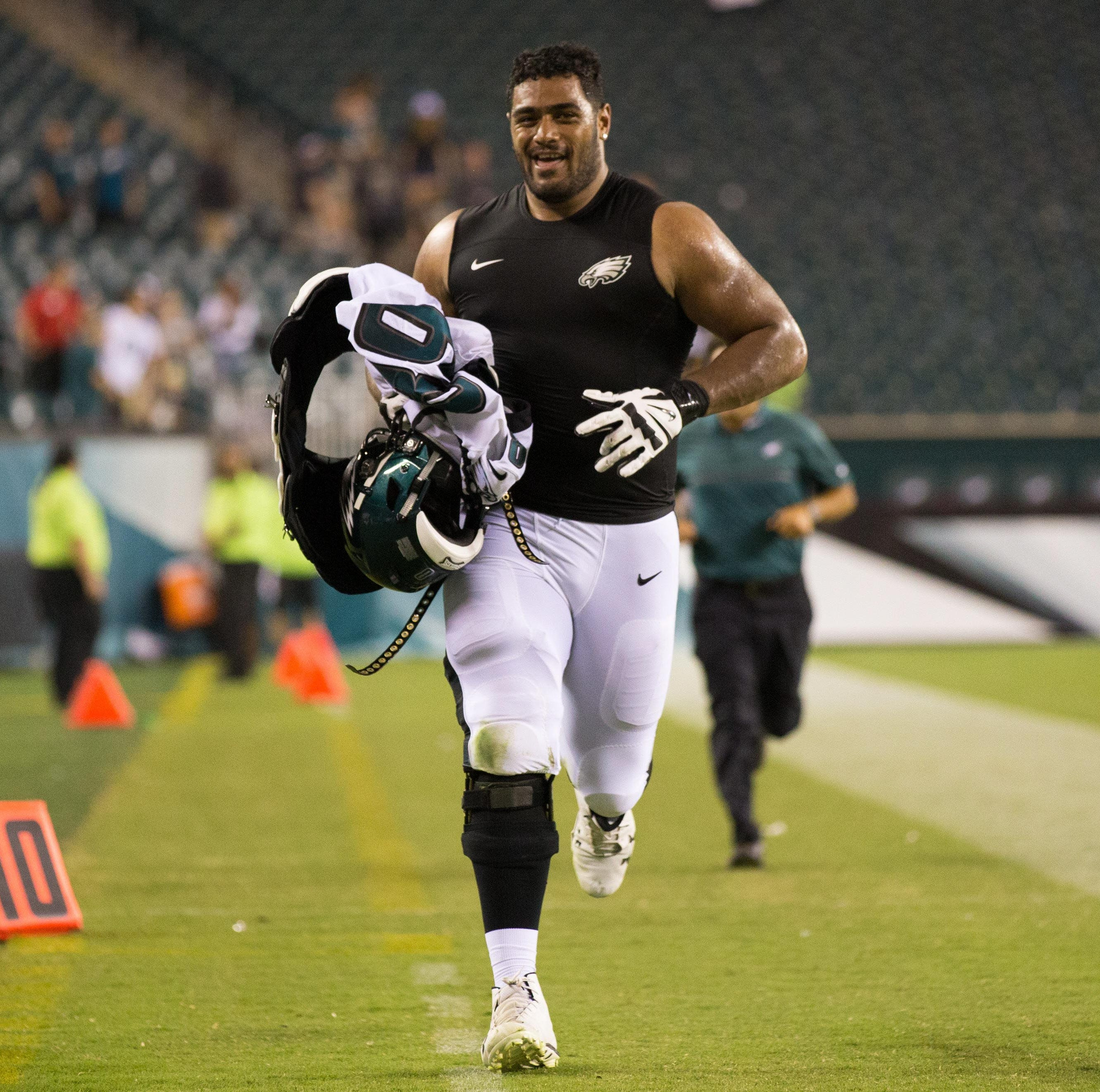 Eagles offensive tackle Jordan Mailata (68) runs...