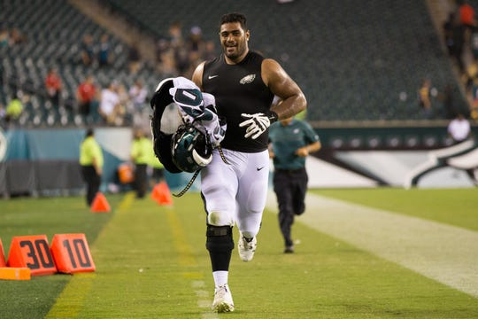 Eagles' Jordan Mailata (68) runs off the field after a preseason game against the Pittsburgh Steelers at Lincoln Financial Field on Aug. 9, 2018.