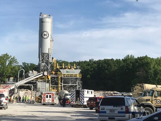 A report of an industrial accident brought emergency responders to Heritage Concrete in Townsend on Wednesday morning.