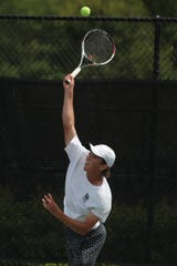 Tower Hill's Robby Ward in action during the DIAA boys first singles championship Wednesday at St. Andrew's. Ward defeated Cesar Rodney's Rishi Gundakaram 6-2, 6-3.