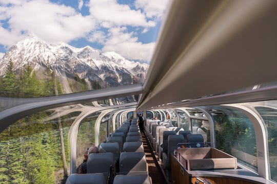 GoldLeaf Service coaches feature glass-dome windows, all the better for viewing dramatic vistas in the Canadian Rockies.