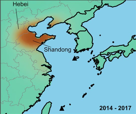 Emissions of the banned chemical appear to be coming from two provinces in eastern China: In southern Hebei and northern Shandong, seen here in red.