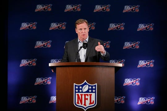 NFL Commissioner Roger Goodell speaks to the media during the NFL football owners meeting Wednesday in Key Biscayne, Fla.