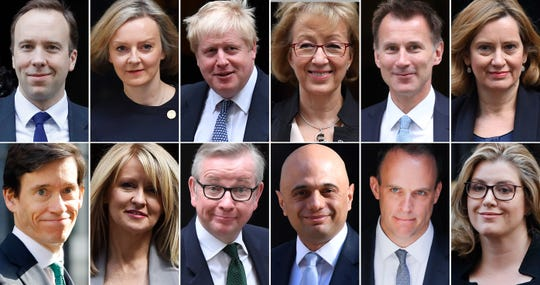 A combination of pictures created in London on May 17, 2019, shows declared and potential contenders to be Britain's next prime minister.
