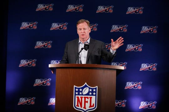 Commissioner Roger Goodell addresses the media during the NFL owners meetings on Wednesday.