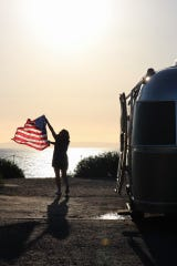 Jaci Cederberg (pictured) and her International Serenity Airstream in Laguna Beach, California.