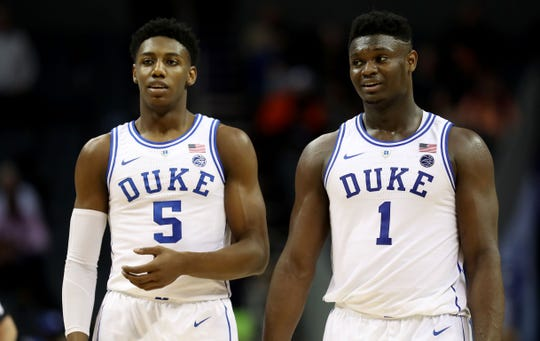 R.J. Barrett, left, and Zion Williamson