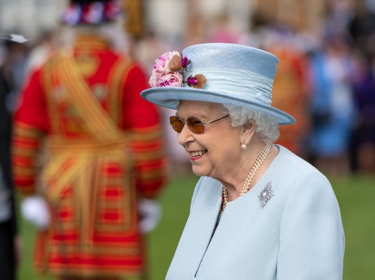 Queen Elizabeth II donned sunglasses for the first Royal Garden Party of the season at Buckingham Palace on May 21, 2019 in London.