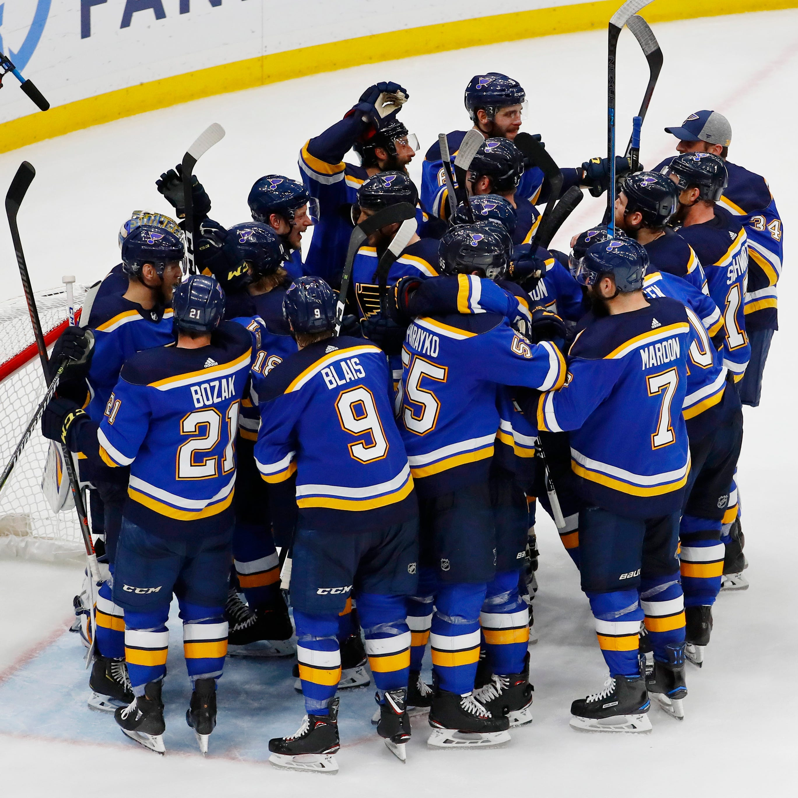 Blues celebrate their win over the Sharks that sent them to the Stanley Cup Final.