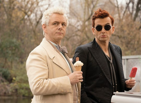 "Martin Sheen stars as the angel Aziraphale and David Tennant as the demon Crowley in ""Good Omens."""