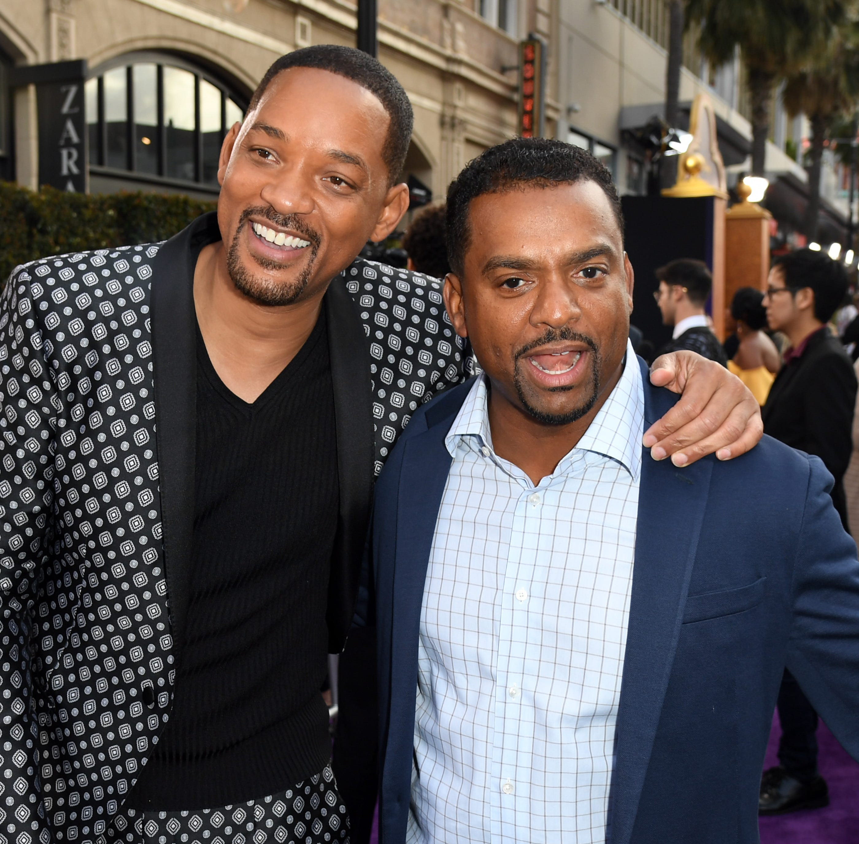 "LOS ANGELES, CALIFORNIA - MAY 21: Will Smith and Alfonso Ribeiro attends the premiere of Disney's ""Aladdin"" at El Capitan Theatre on May 21, 2019 in Los Angeles, California. (Photo by Kevin Winter/Getty Images) ORG XMIT: 775339010 ORIG FILE ID: 1150847401"