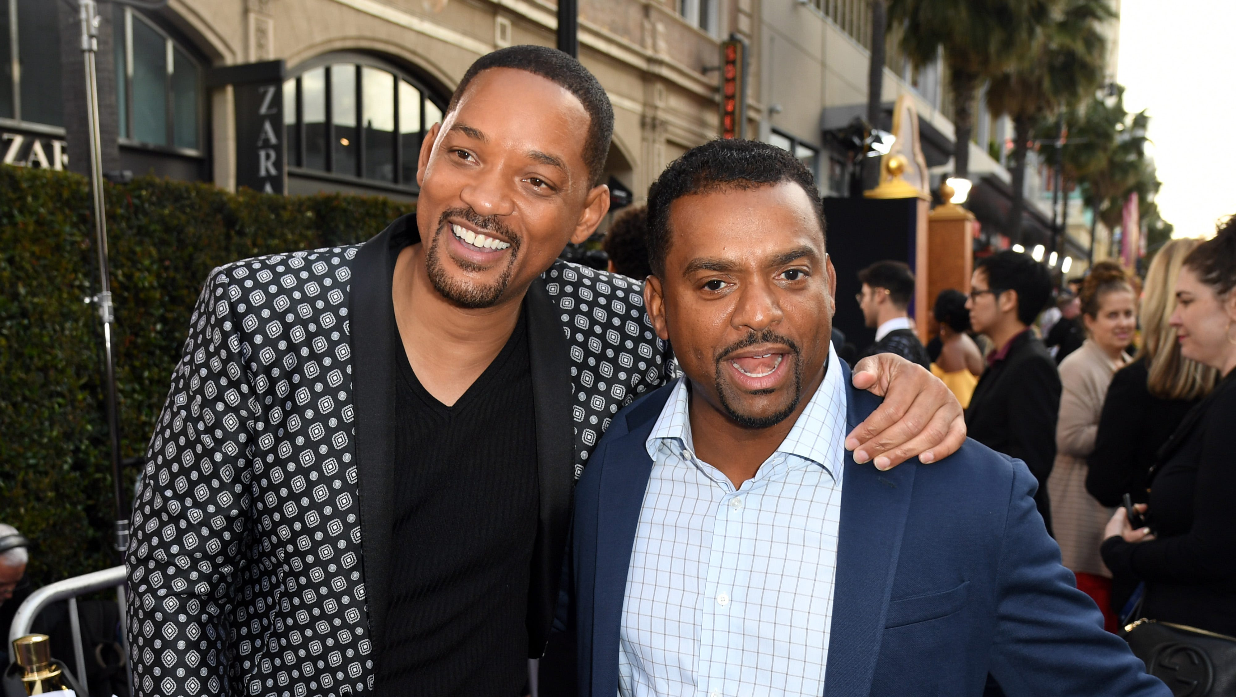 """LOS ANGELES, CALIFORNIA - MAY 21: Will Smith and Alfonso Ribeiro attends the premiere of Disney's """"Aladdin"""" at El Capitan Theatre on May 21, 2019 in Los Angeles, California. (Photo by Kevin Winter/Getty Images) ORG XMIT: 775339010 ORIG FILE ID: 1150847401"""