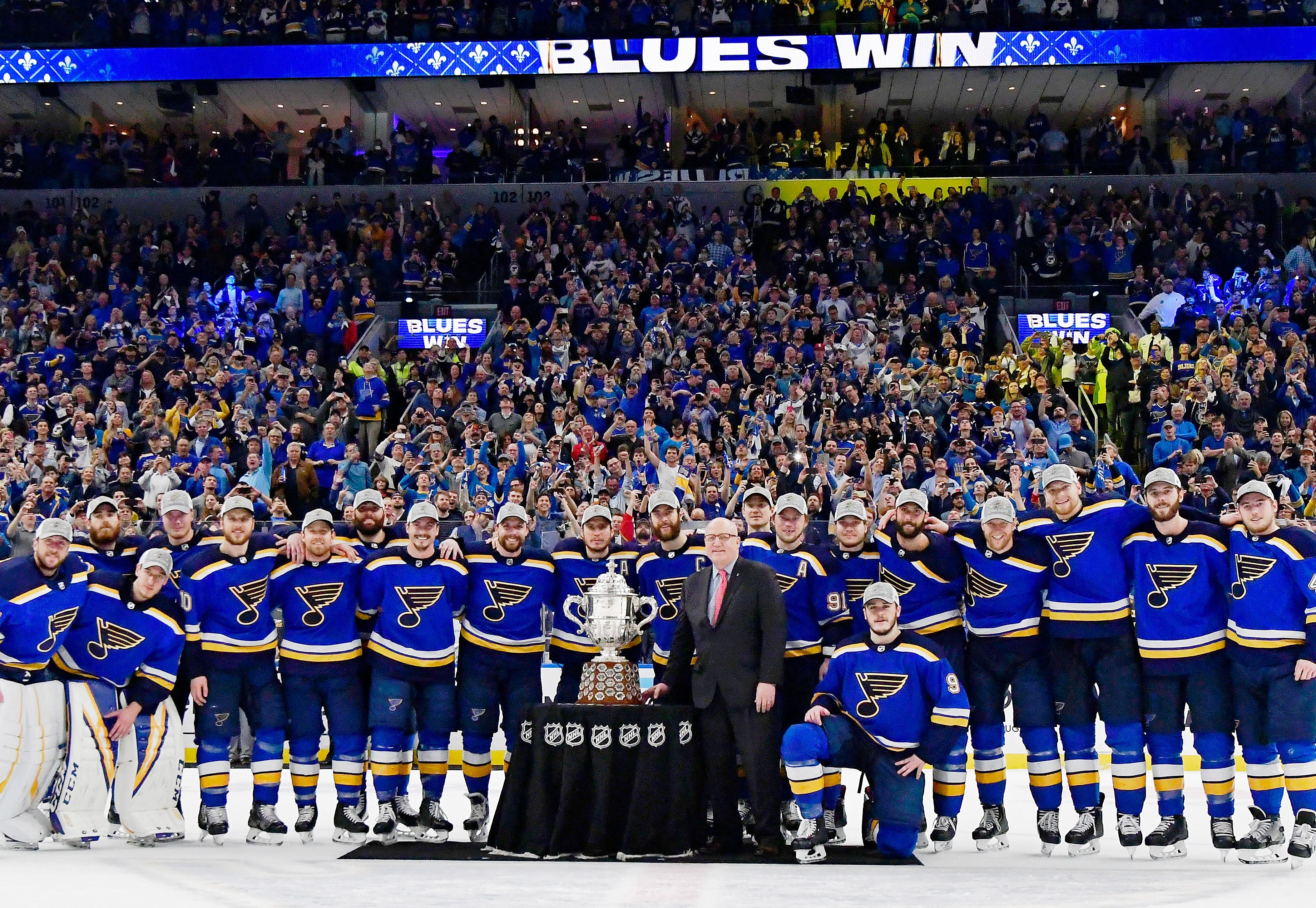 Conference finals: The St. Louis Blues post with the Clarence S. Campbell Bowl after winning the Western Conference final. They didn't touch the trophy.