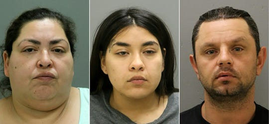 This combination of pictures created on May 16, 2019 shows this handout mugshot obtained courtesy of the Chicago Police Department on May 16, 2019, shows the booking photo of Clarisa Figueroa, Desiree Figueroa, and Piotr Bobak.