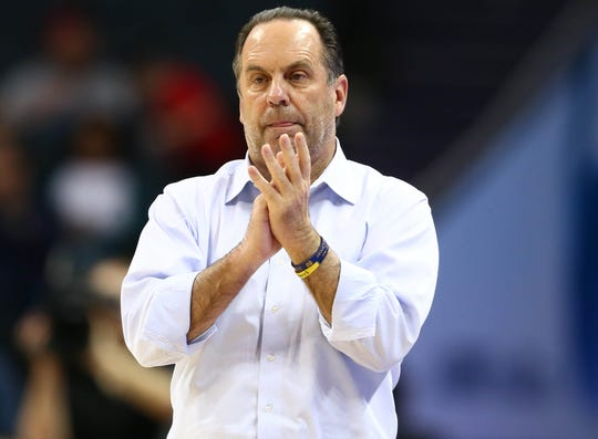 Notre Dame coach Mike Brey watches his team play against Georgia Tech during the 2019 ACC tournament.