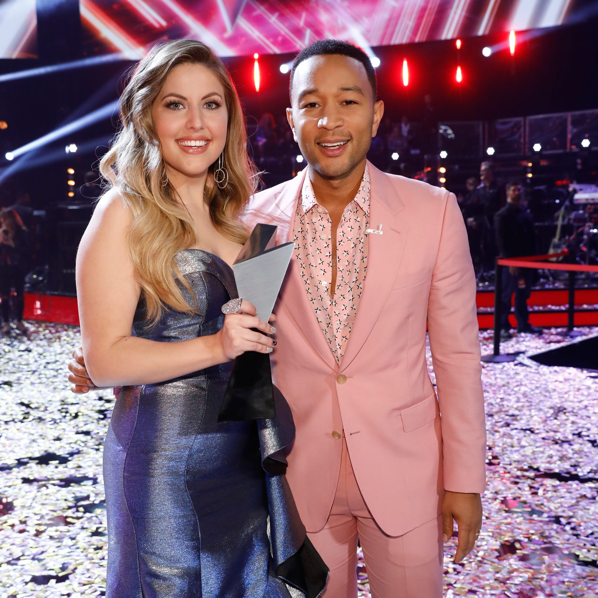 "Rookie ""Voice"" coach John Legend celebrates his first win with Season 16 champ Maelyn Jarmon."