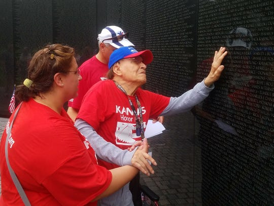 Isaac Sanchez at the Vietnam Veterans memorial in Washington, D.C., in the spring of 2018.