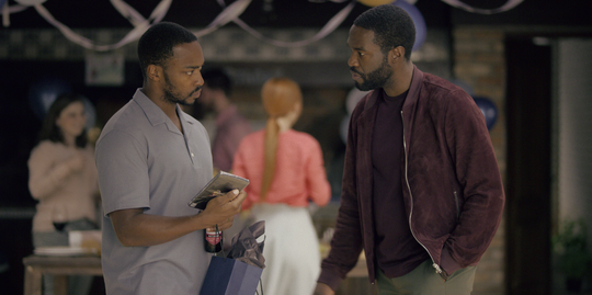 "Anthony Mackie and Yahya Abdul-Mateen II seem to be dealing with something serious on ""Black Mirror."""