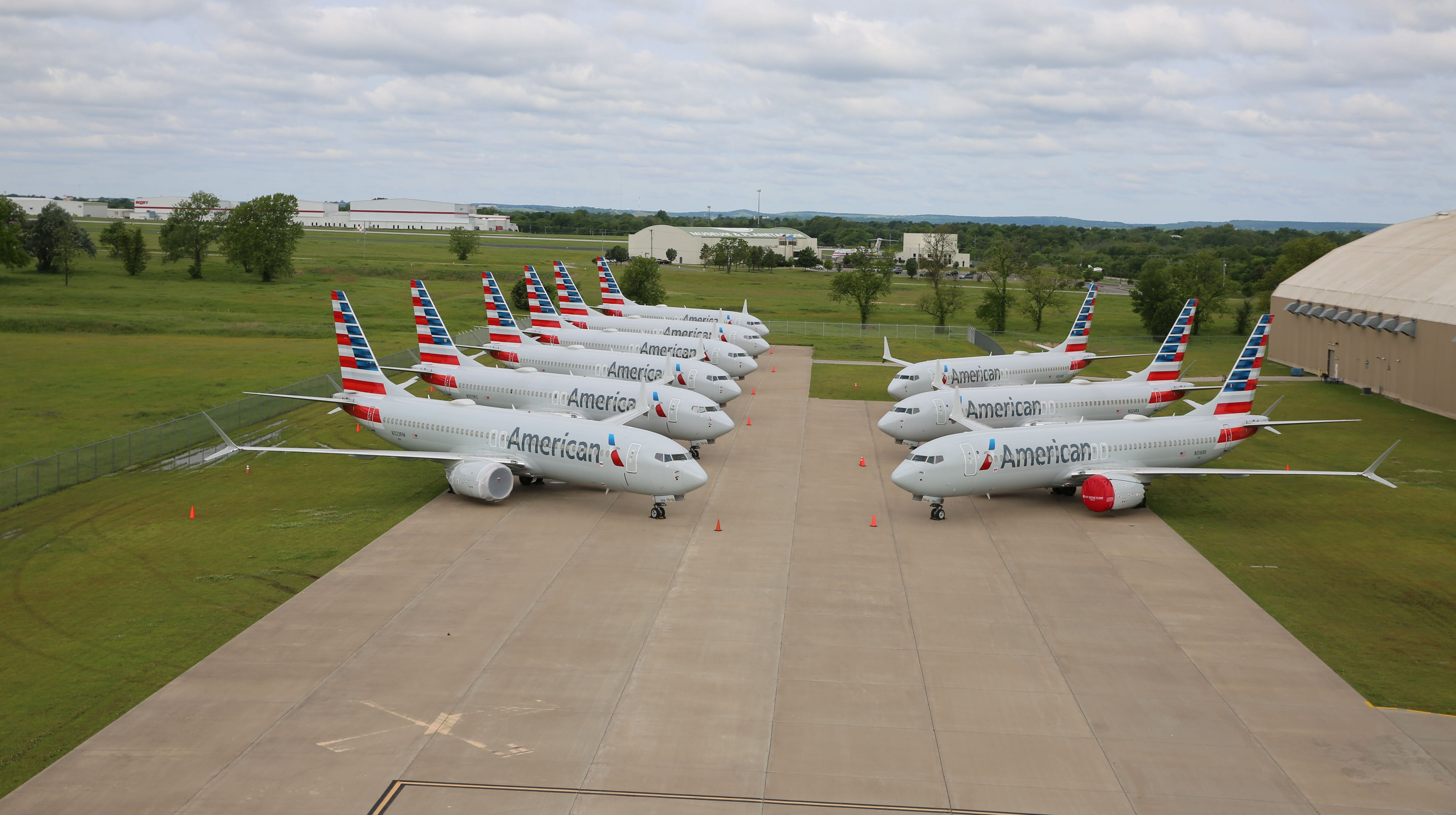 American Airlines Boeing 737 Max 8 planes parked at the airline's maintenance base in Tulsa, Oklahoma