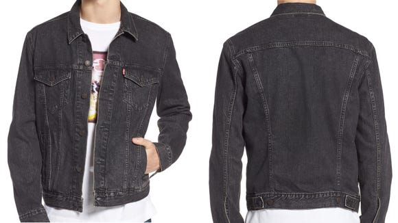 This dark denim jacket brings a cool vibe to any look.