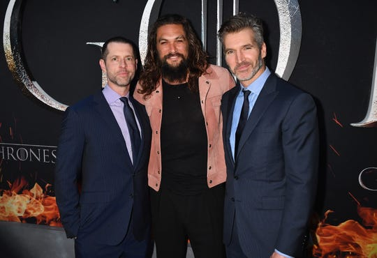 "We're guessing Jason Momoa isn't happy with ""Game of Thrones"" co-creators D.B Weiss, left, and David Benioff, either, since they're the ones who wrote Daenerys death."