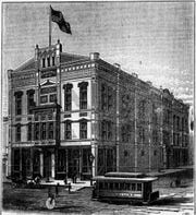 This drawing the building at the corner of College Avenue and Morrison Street ran in The Post-Crescent in December 1888.