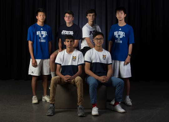 The 2019 Boys All-Shore Tennis team. Seated left to right, Ani Singh and Frank Liu of Marlboro. Back, left to right, Allen Lu of Holmdel, Matt Cardano of Middletown South, Max Lustgarten of Rumson-Fair Haven, and Jason Yan of Holmdel. Not pictured are Eitan Khromchenko of Marlboro, Connor Nelson from CBA, Jerry Lopez of Colts Neck, and Anthony Prokarat from Red Bank Catholic. 