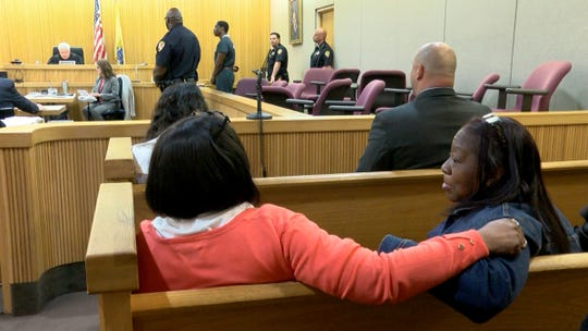 Jonelle Melton's mother Gwen Cruz and her sister Sandra Byrd listen as Jerry Spaulding is sentenced in State Superior Court courtroom in Freehold, NJ, Thursday, May 23, 2019, for the torture murder of Red Bank Middle School teacher.