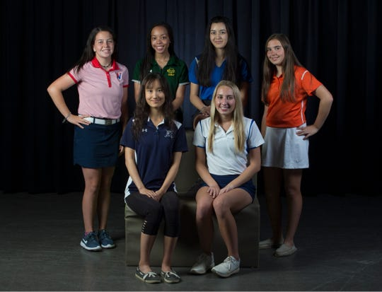 The 2019 Girls All-Shore Golf team. Seated left to right, Anna Effenberger of Ranney School and Lexi Stewart of Holmdel. Top, left to right, Jessica Brehm of Wall, Jada Walch of Red Bank Catholic, Sophia Taverna of Holmdel, and Anna Clements of Trinity Hall.  Neptune, NJ Thursday, May 23, 2019