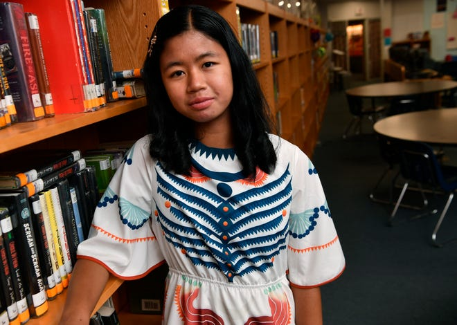 County spelling bee winner Neila Carias at Clack Middle School on Wednesday.