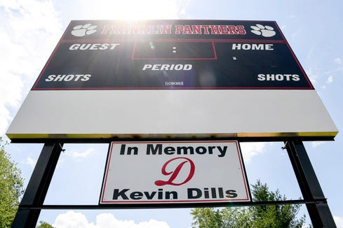 The Franklin soccer team dedicated their new scoreboard to Kevin Dills, father of their teammate, Brandy.