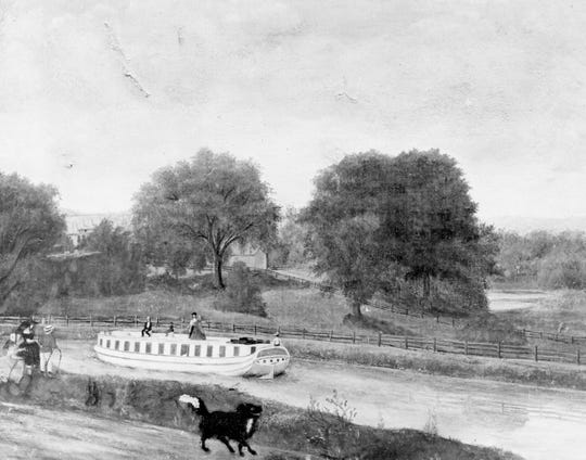 A painting of a packet boat approaching Binghamton on the Chenango Canal.