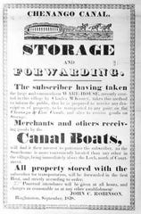 A broadside advertising for travel on the Chenango Canal, about 1840.