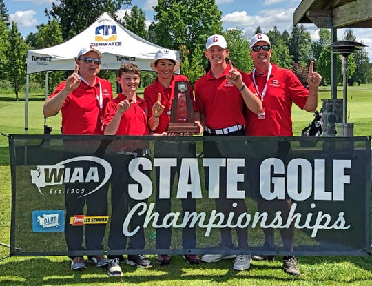 Crosspoint's boys golf team won the Class B state championship Wednesday at Tumwater Valley Golf Course.