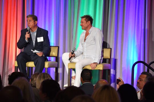 Simon Le Bon, right, lead singer of the British music group Duran Duran, was the special luncheon guest at the 2019 Cultural Summit, presented by Brevard Cultural Alliance in May. Le Bon joined Greg Pallone of Spectrum News 13 for a conversation, followed by an audience Q&A.