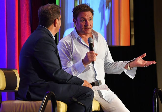 Simon Le Bon, lead singer of the British music group Duran Duran, was the special luncheon guest at the 2019 Cultural Summit, presented by Brevard Cultural Alliance, at the Hilton Melbourne Rialto Place. Le Bon joined Greg Pallone of Spectrum News 13 for a conversation, followed by an audience Q&A.